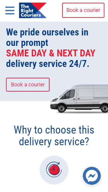 Design and Website development of TheRightCouriers.co.uk